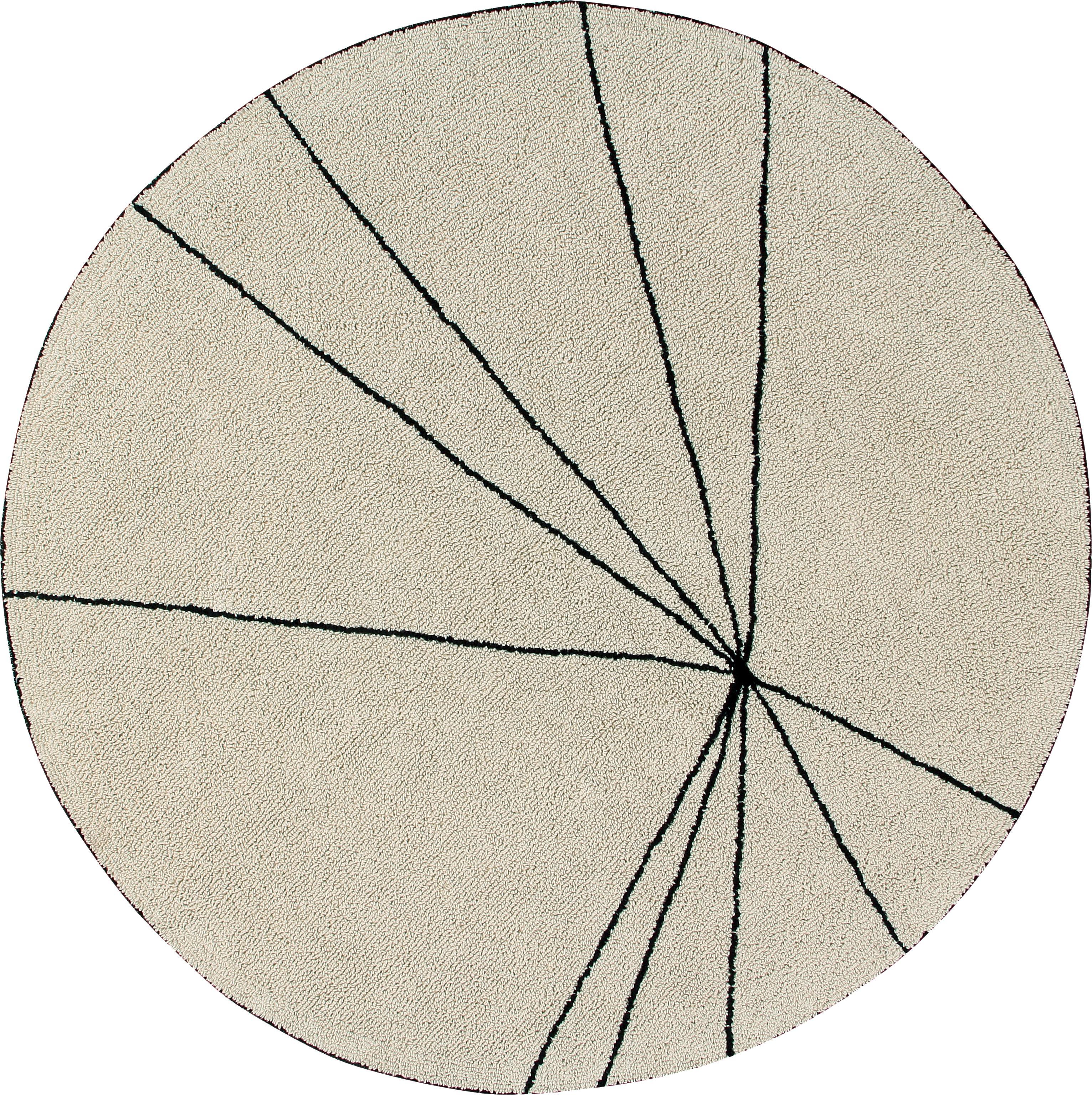 Baumwollteppich Trace, rund, Flor: 90% Baumwolle, 10% recyce, Beige, Schwarz, Ø 160 cm (Größe L)