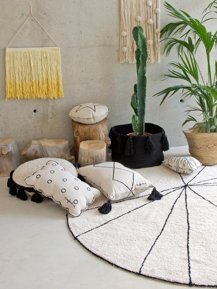 Teppich Trace, rund, Flor: 90% Baumwolle, 10% recyce, Beige, Schwarz, Ø 160 cm (Größe L)