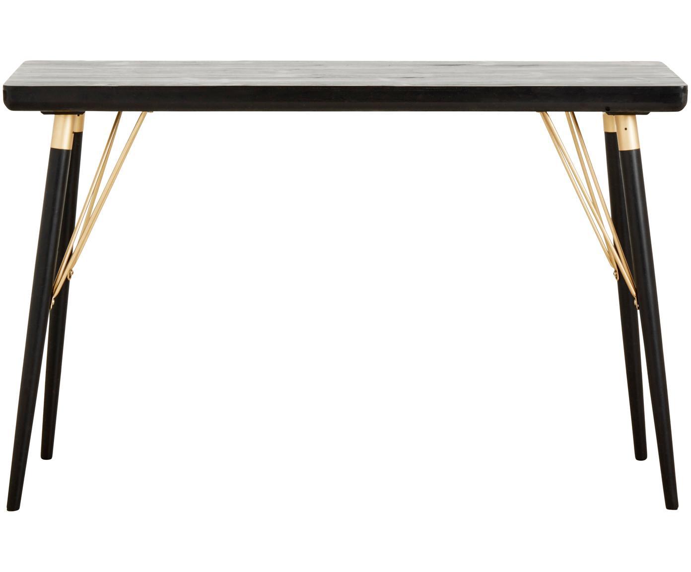 Sidetable Jana met goudkleurige elementen, Plank: MDF, gelakt dennenhoutfin, Poten: gelakt metaal, Zwart, goudkleurig, B 120 x D 40 cm
