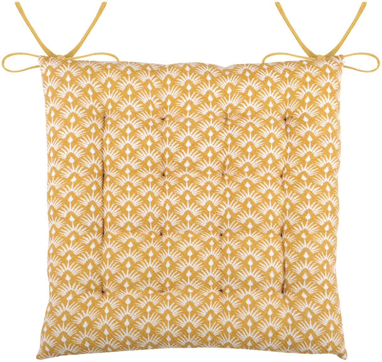 Cuscino sedia reversibile Palma, Giallo senape, bianco, Larg. 40 x Lung. 40 cm