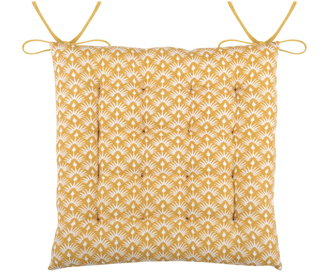 Dwustronna poduszka na krzesło Palma, Musztardowy, biały, S 40 x D 40 cm