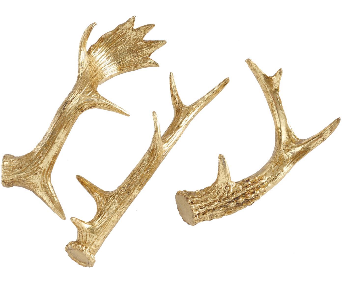 Komplet dekoracji Geweih, 3 elem., Żywica syntetyczna, Odcienie złotego, Różne rozmiary
