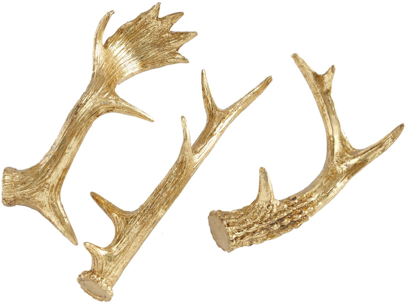 Set de piezas decorativas Geweih, 3pzas., Resina, Dorado, Set de diferentes tamaños