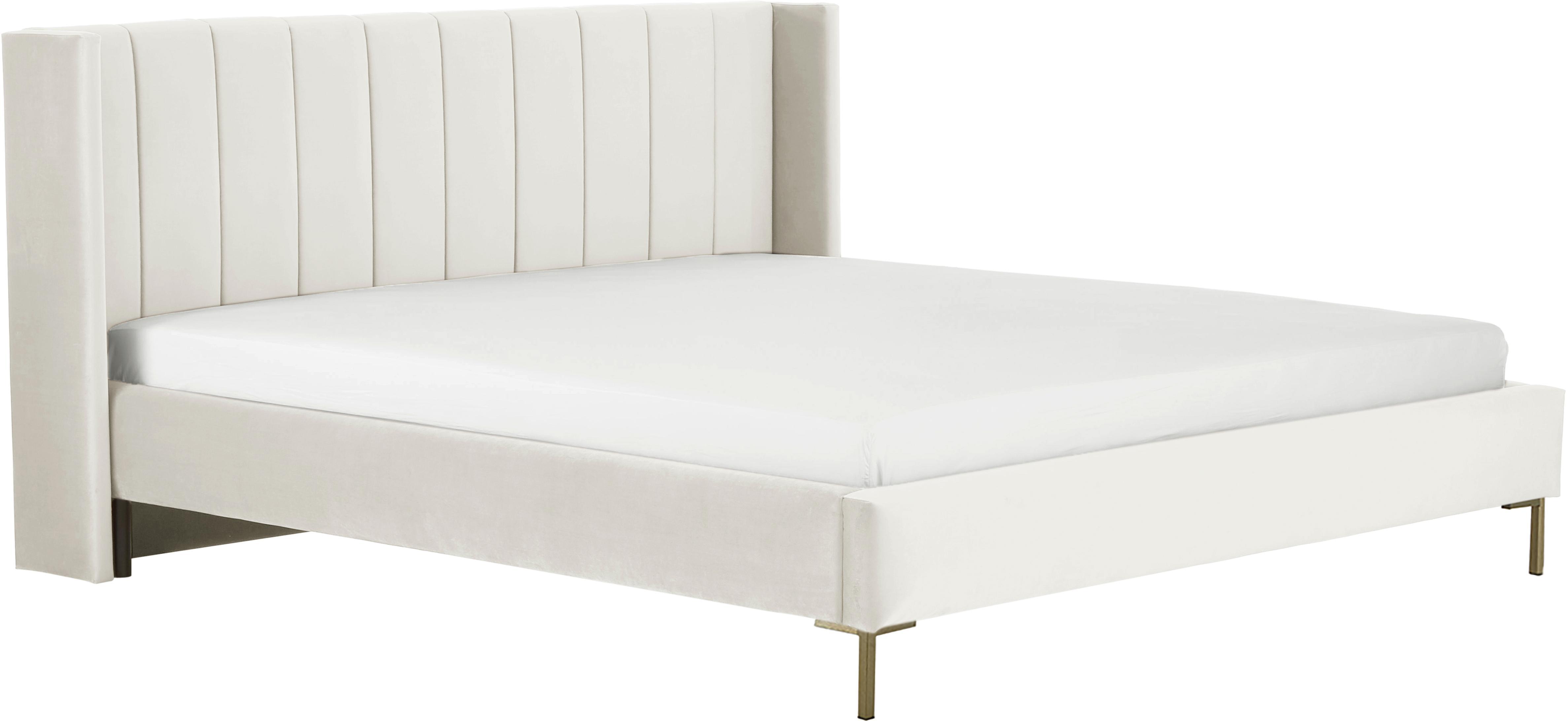 Łóżko tapicerowane z aksamitu Dusk, Korpus: lite drewno sosnowe, Nogi: metal malowany proszkowo, Tapicerka: aksamit poliestrowy 3500, Beżowy, 140 x 200 cm