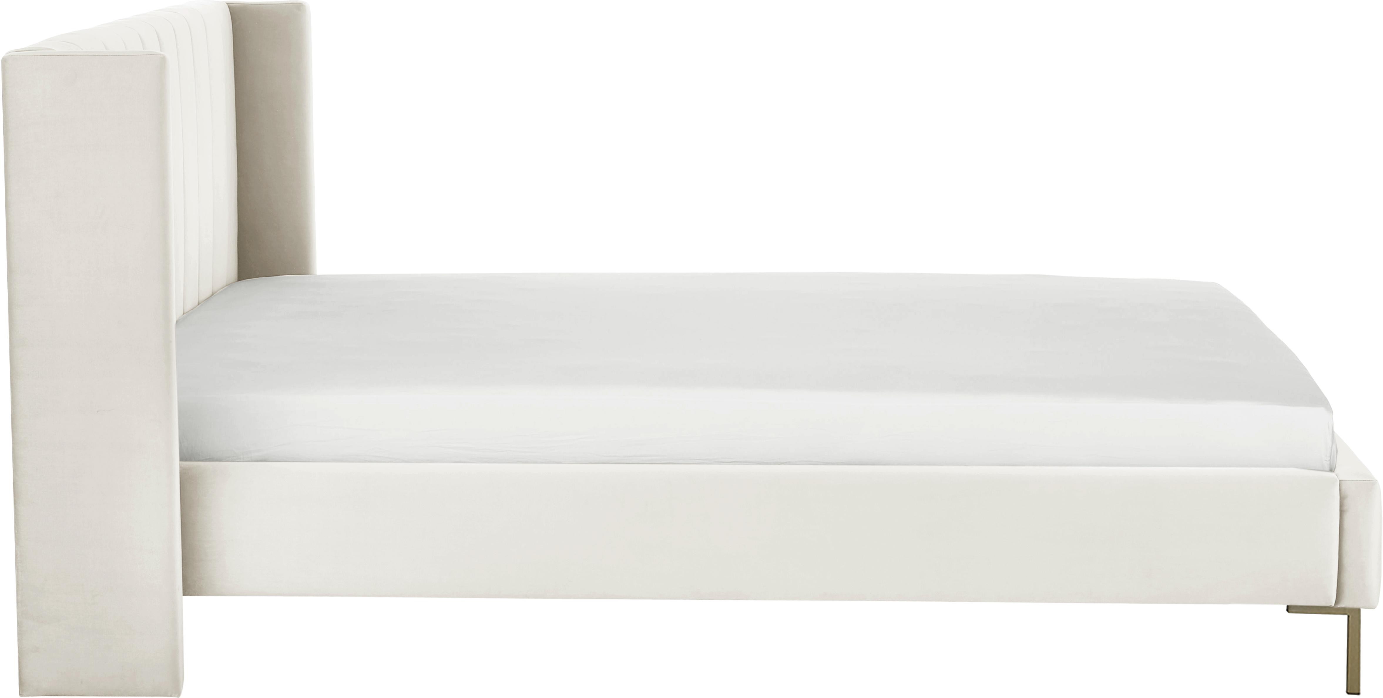 Samt-Polsterbett Dusk, Korpus: Massives Kiefernholz, Füße: Metall, pulverbeschichtet, Bezug: Polyestersamt 30.000 Sche, Beige, 180 x 200 cm
