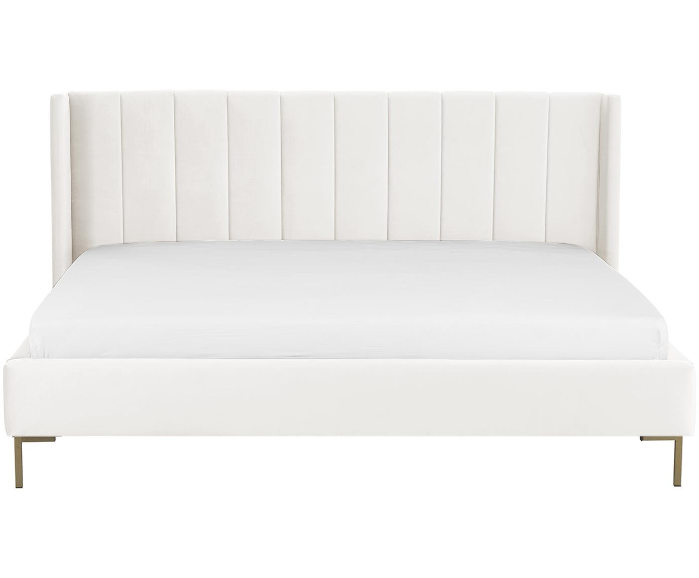 Sametová čalouněná postel Dusk, Béžová