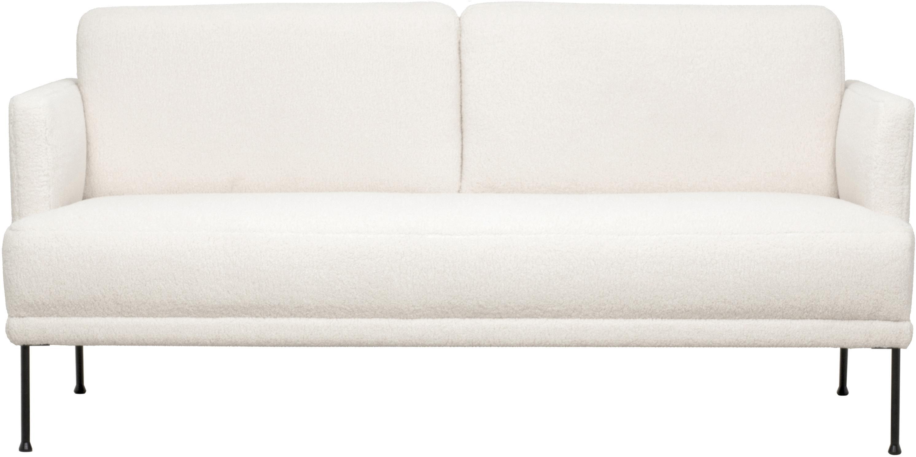Teddy bank Fluente (2-zits), Bekleding: 100% polyester (Teddyfell, Frame: massief grenenhout, Poten: gepoedercoat metaal, Crèmewit, B 166 x D 85 cm