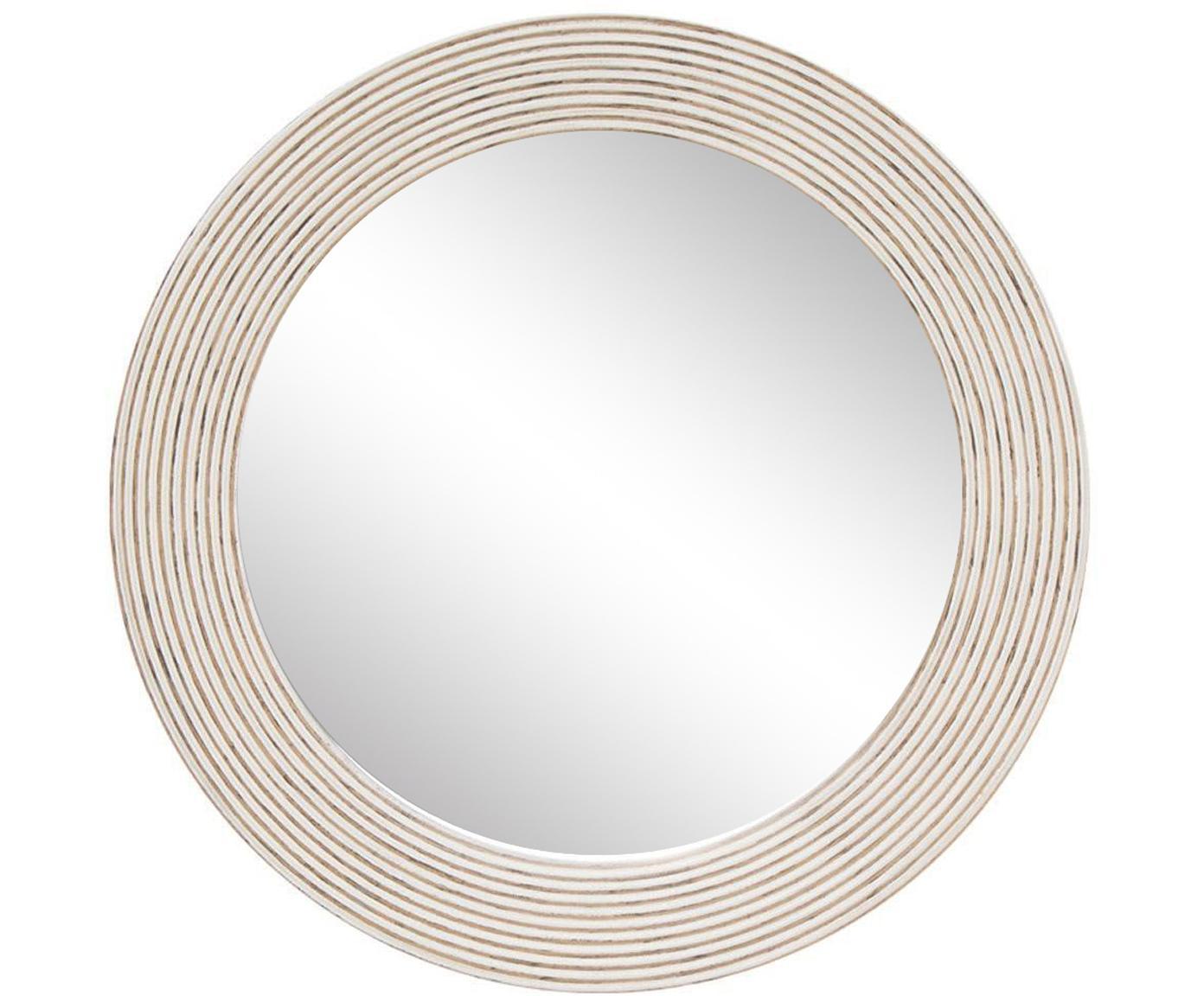 Espejo de pared Furrows, Madera reciclada, espejo de cristal, Beige, Ø 80 cm