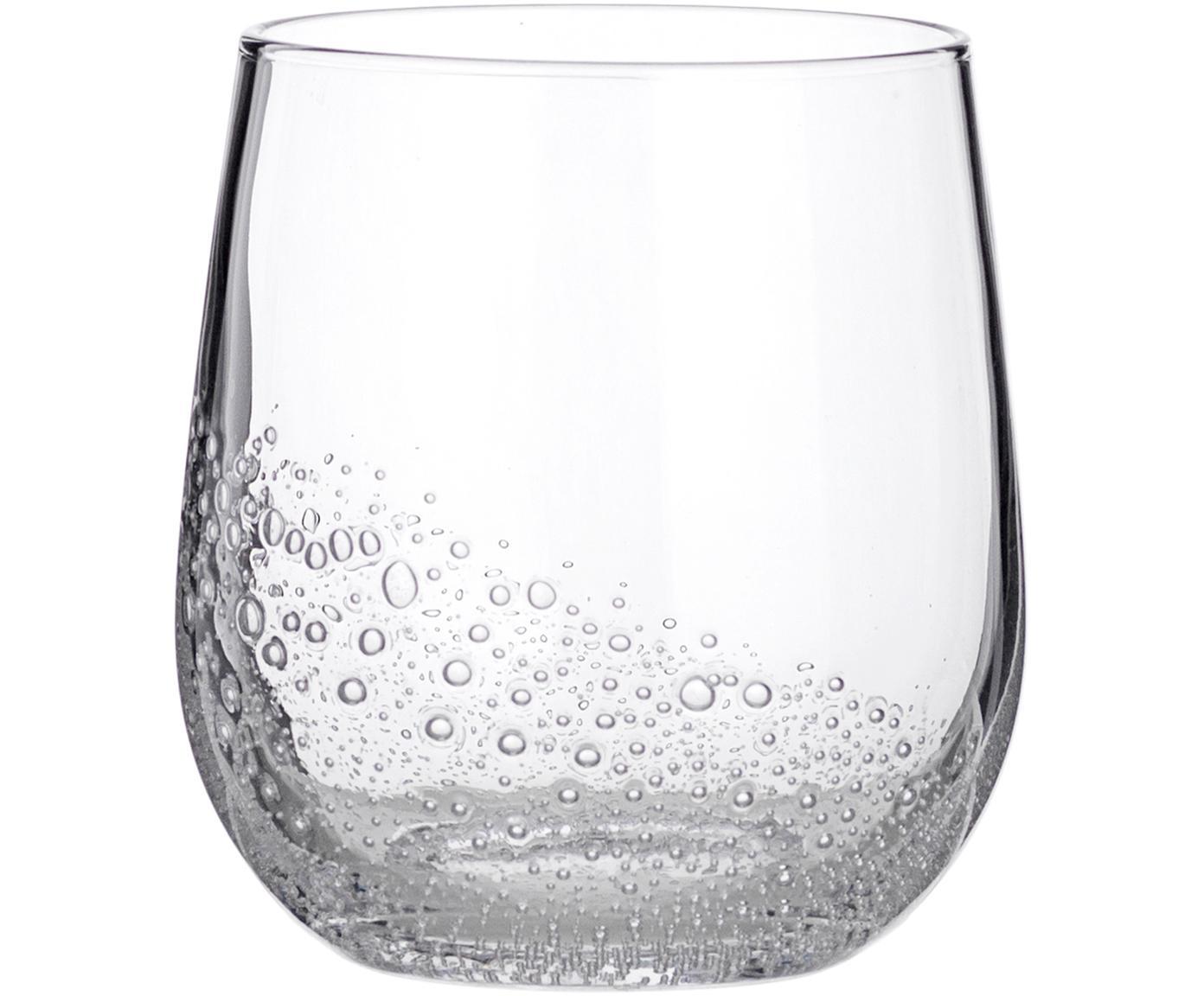 Vasos de vidrio soplado Bubble, 4uds., Vidrio soplado, Transparente con burbujas de aire, Ø 9 x Al 10 cm