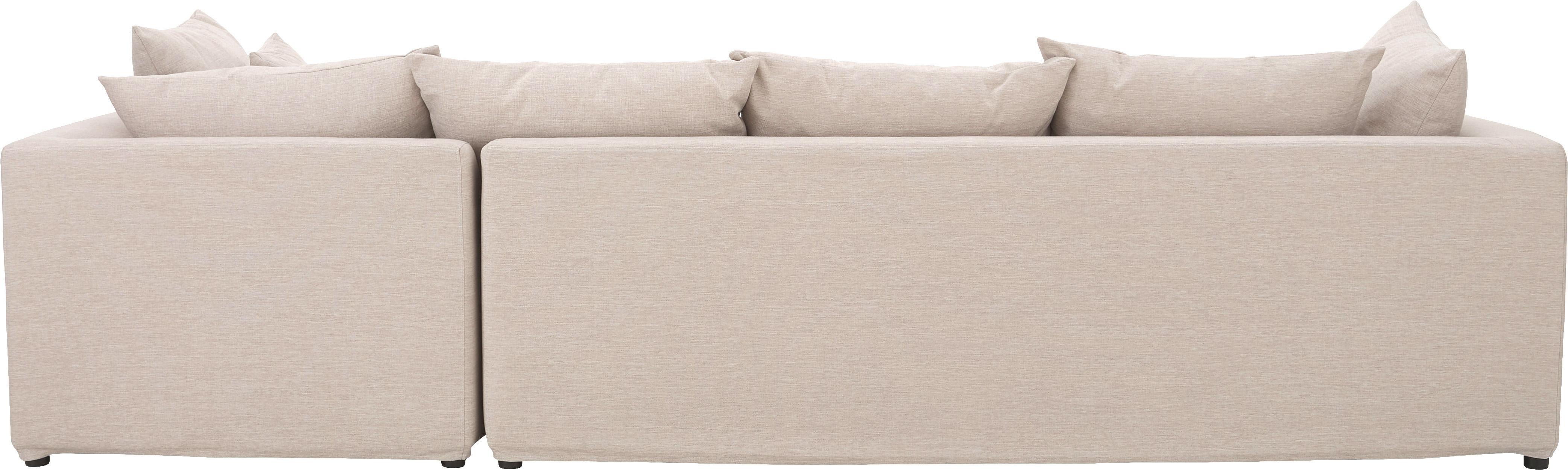 Ecksofa Zach, Bezug: Polypropylen, Füße: Kunststoff, Webstoff Beige, B 300 x T 213 cm