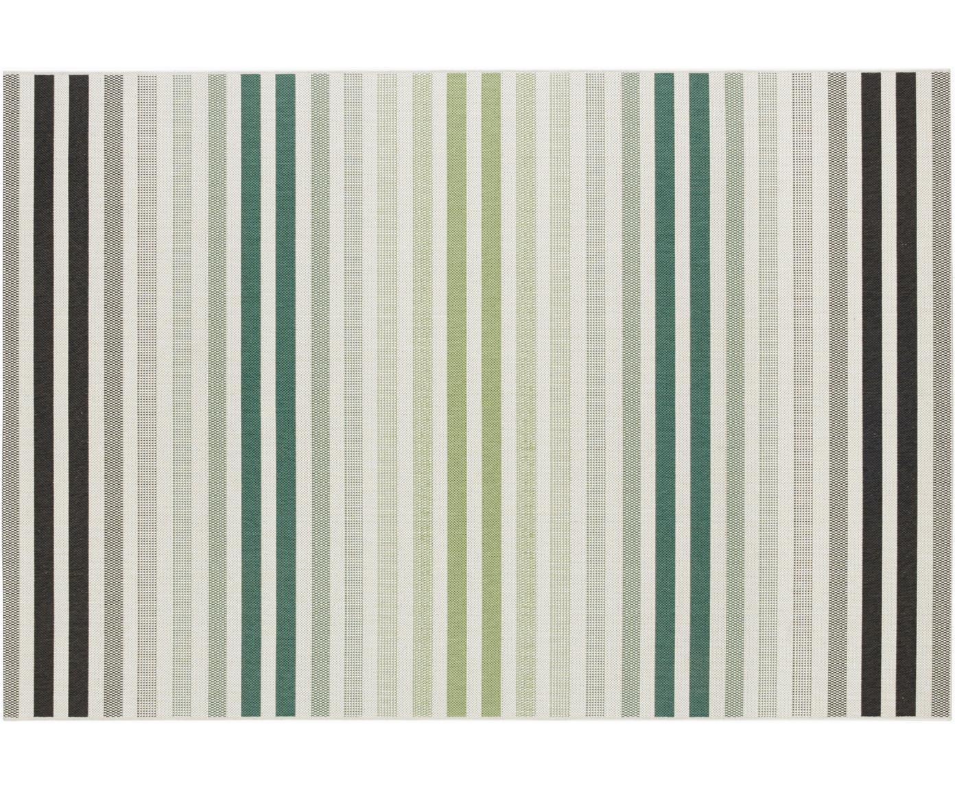 Gestreept in- en outdoor vloerkleed Paros, Polypropyleen, Groen, beige, antraciet, B 80 x L 150 cm (maat XS)