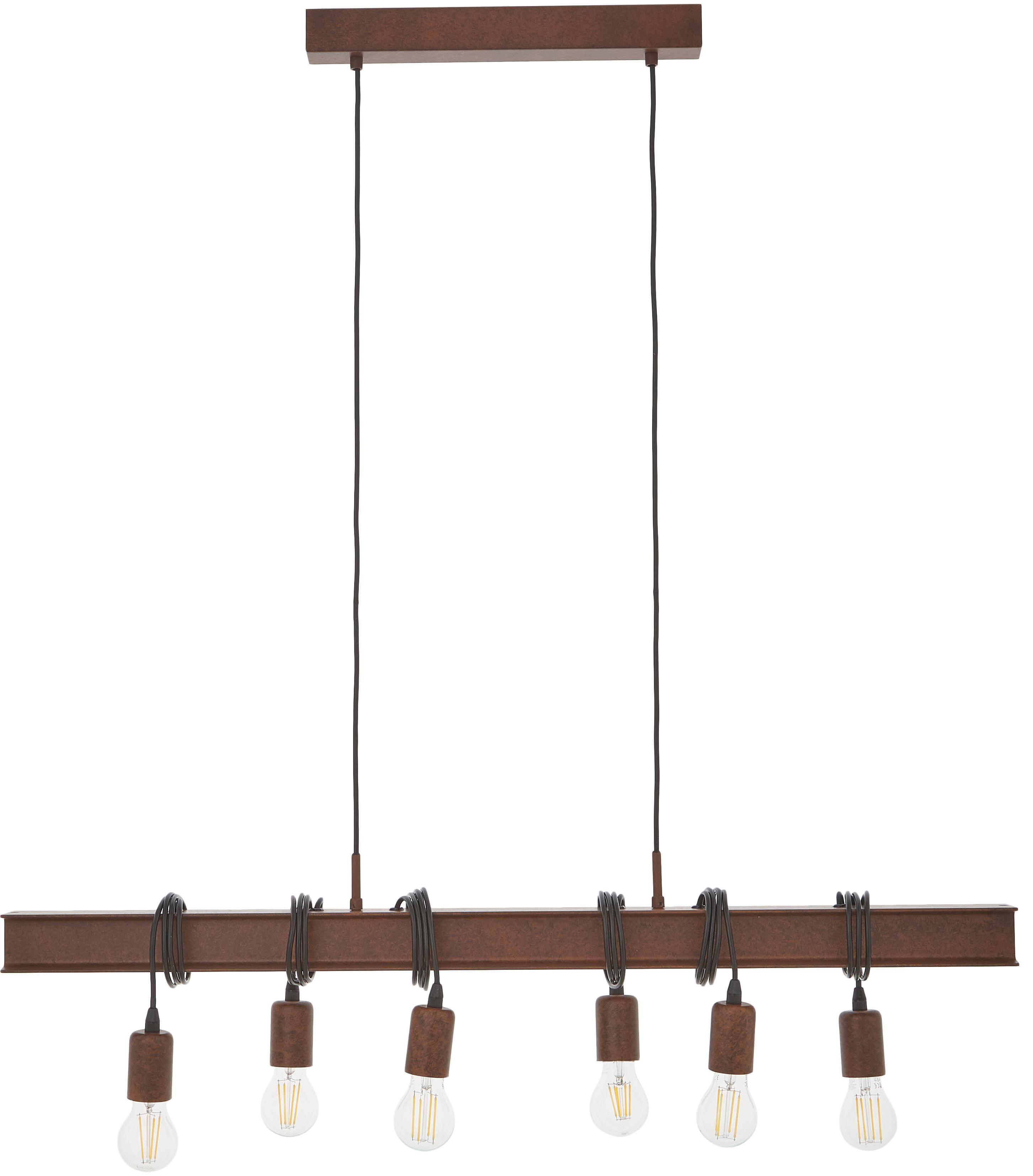 Suspension industrielle bois et acier, grande taille Townshend, Brun