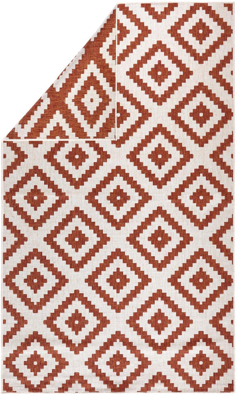 Tappeto reversibile da interno-esterno Malta, Terracotta, crema, Larg. 80 x Lung. 150 cm (taglia XS)