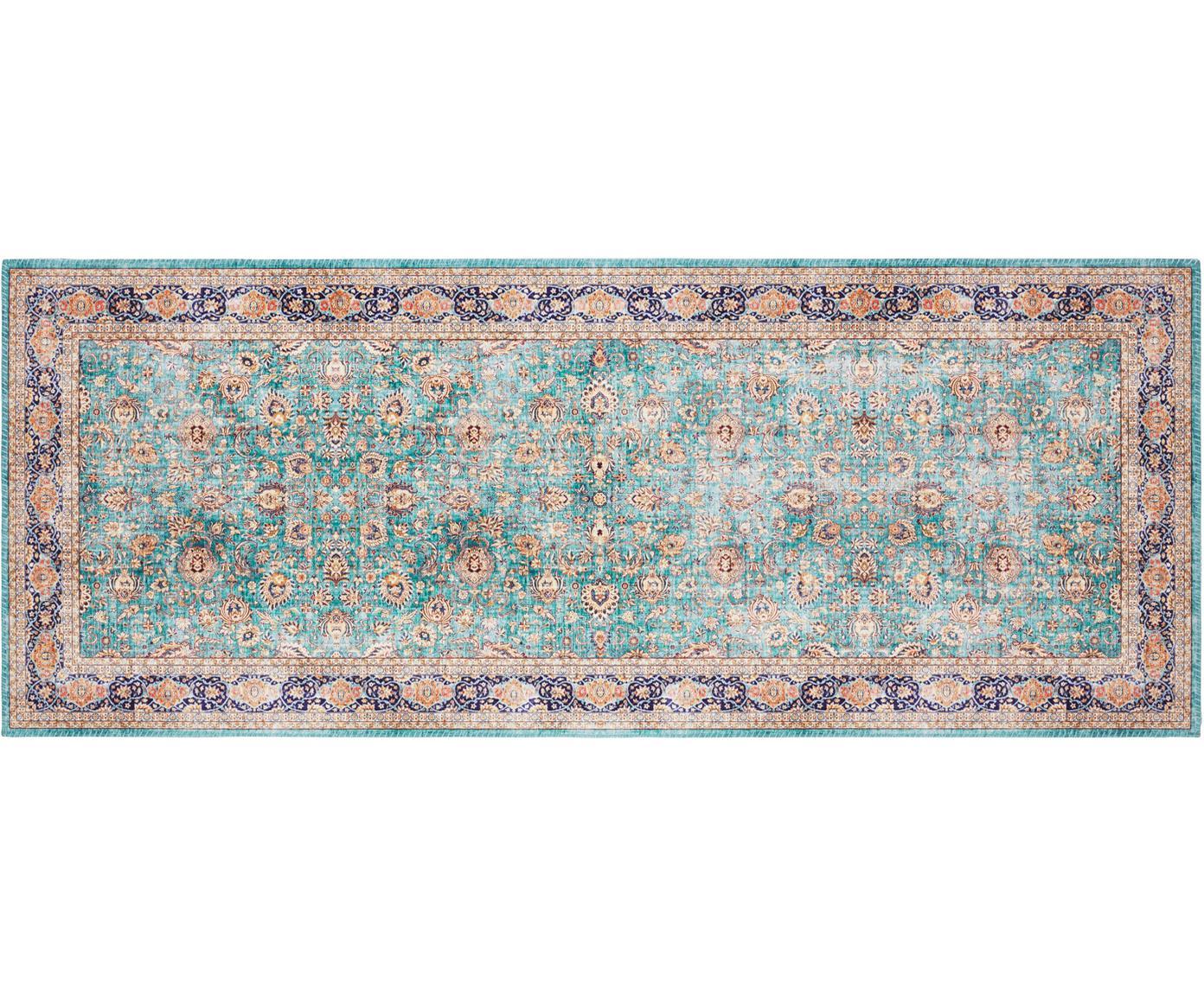 Läufer Keshan Maschad im Orient Style, Jadegrün, Mehrfarbig, 80 x 200 cm