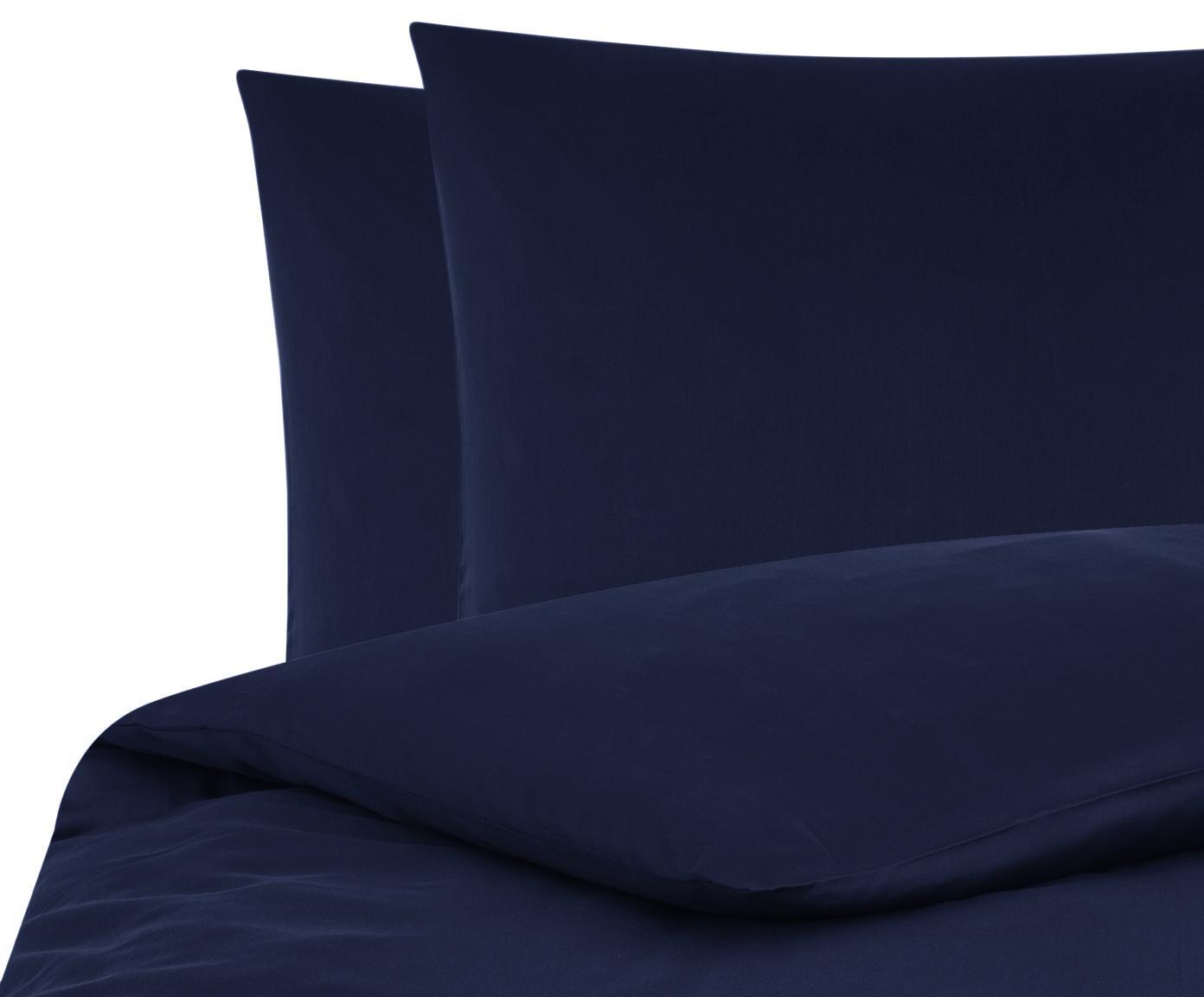 Parure copripiumino in raso di cotone Comfort, Blu scuro, 200 x 200 cm