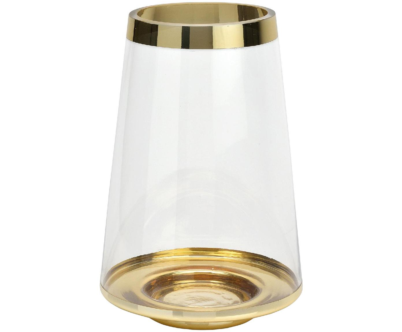 Glas-Vase Lydia mit lackiertem Rand, Glas, Transparent, Goldfarben, Ø 16 x H 25 cm