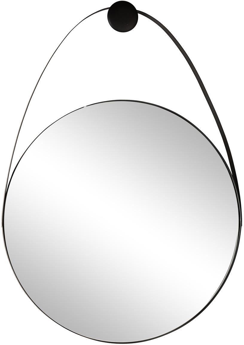 Specchio da parete Kieran, Cornice: metallo rivestito, Superficie dello specchio: lastra di vetro, Nero, Larg. 61 x Alt. 88 cm
