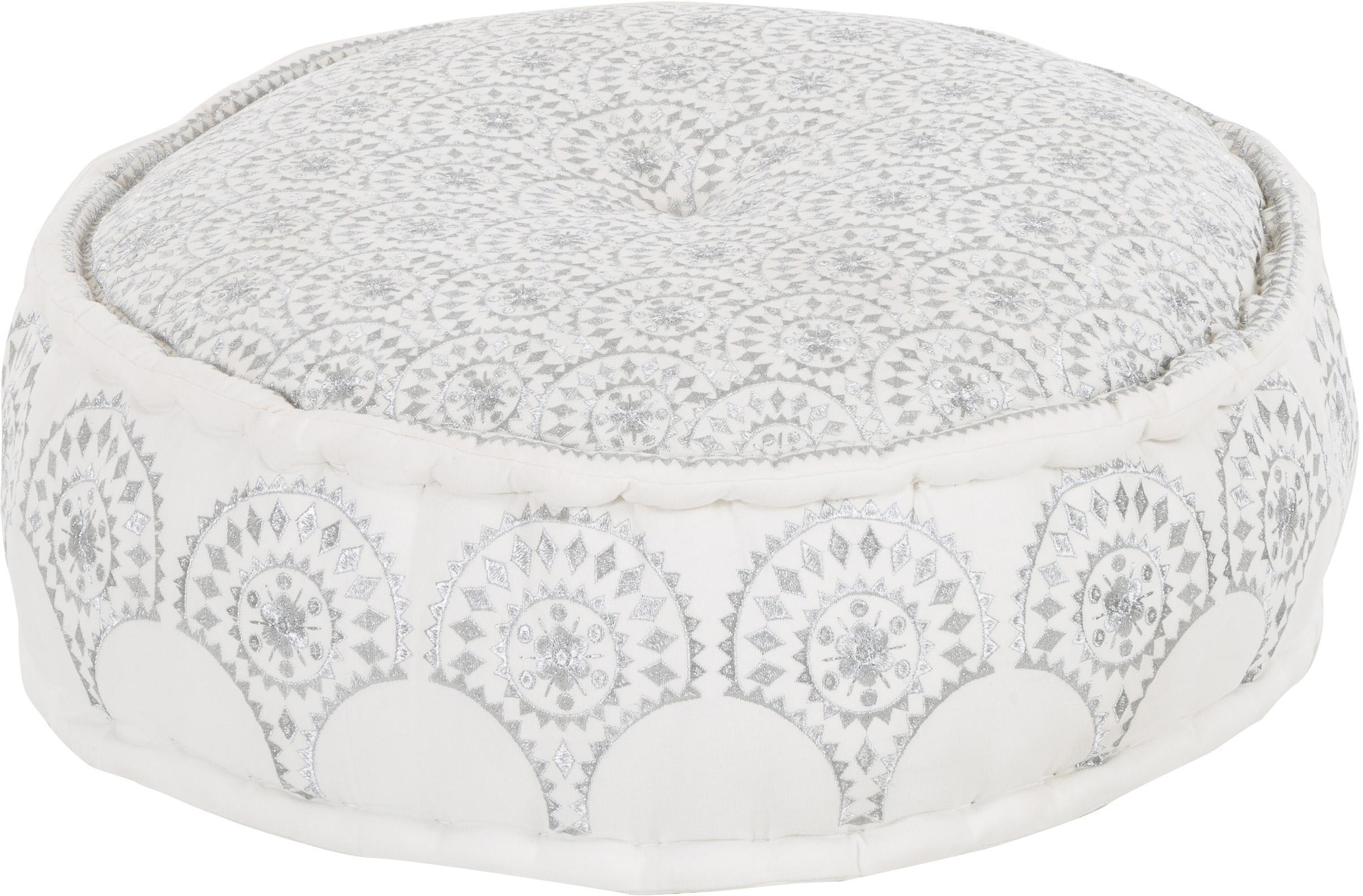 Rundes Bodenkissen Casablanca mit besticktem Muster, Bezug: 100% festes Baumwollcanva, Weiß, Silberfarben, Ø 60 x H 25 cm
