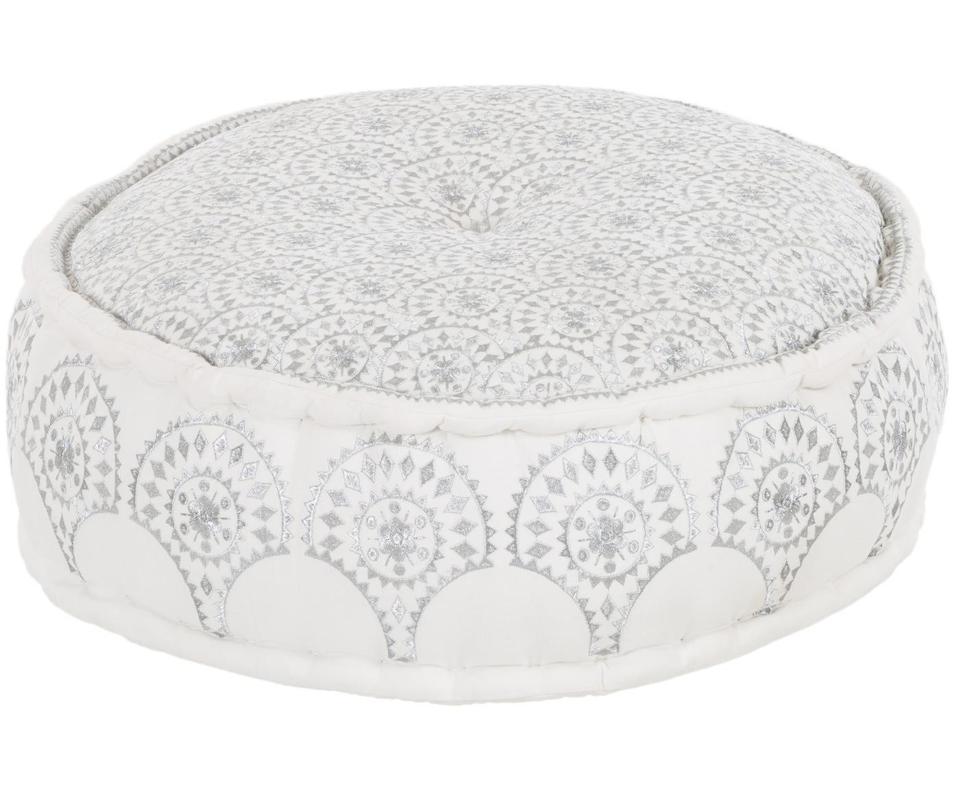 Okrągła haftowana poduszka podłogowa Casablanca, Tapicerka: solidne bawełniane płótno, Biały, odcienie srebrnego, Ø 60 x W 25 cm