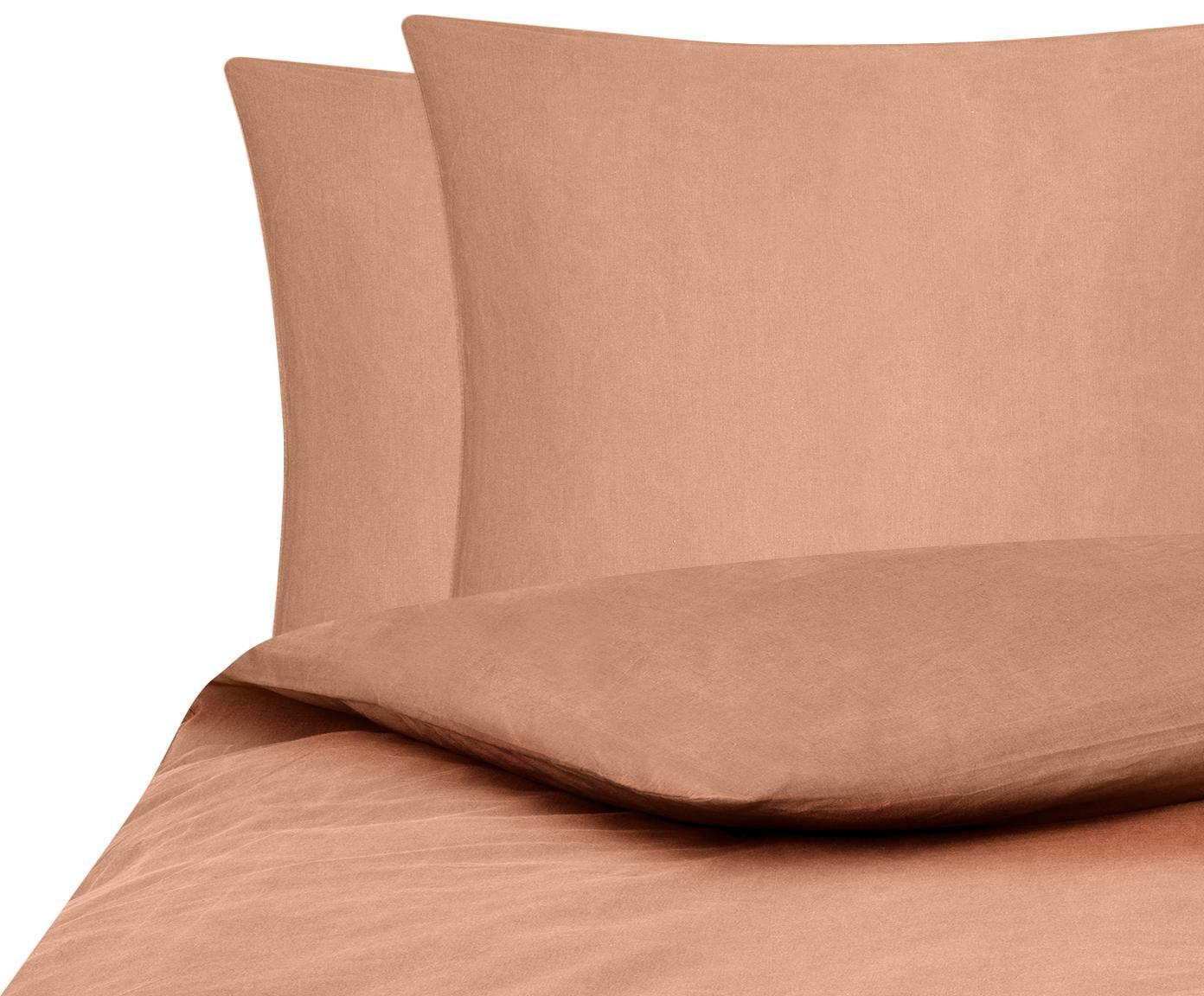 Gewaschene Baumwoll-Bettwäsche Arlene in Apricot, Webart: Renforcé Fadendichte 144 , Apricot, 200 x 200 cm + 2 Kissen 80 x 80 cm