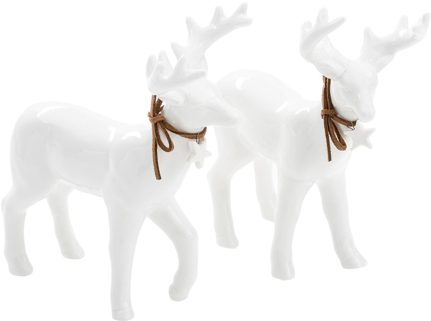 Set di 2 renne in porcellana Ben, Porcellana, Bianco, Alt. 15 cm
