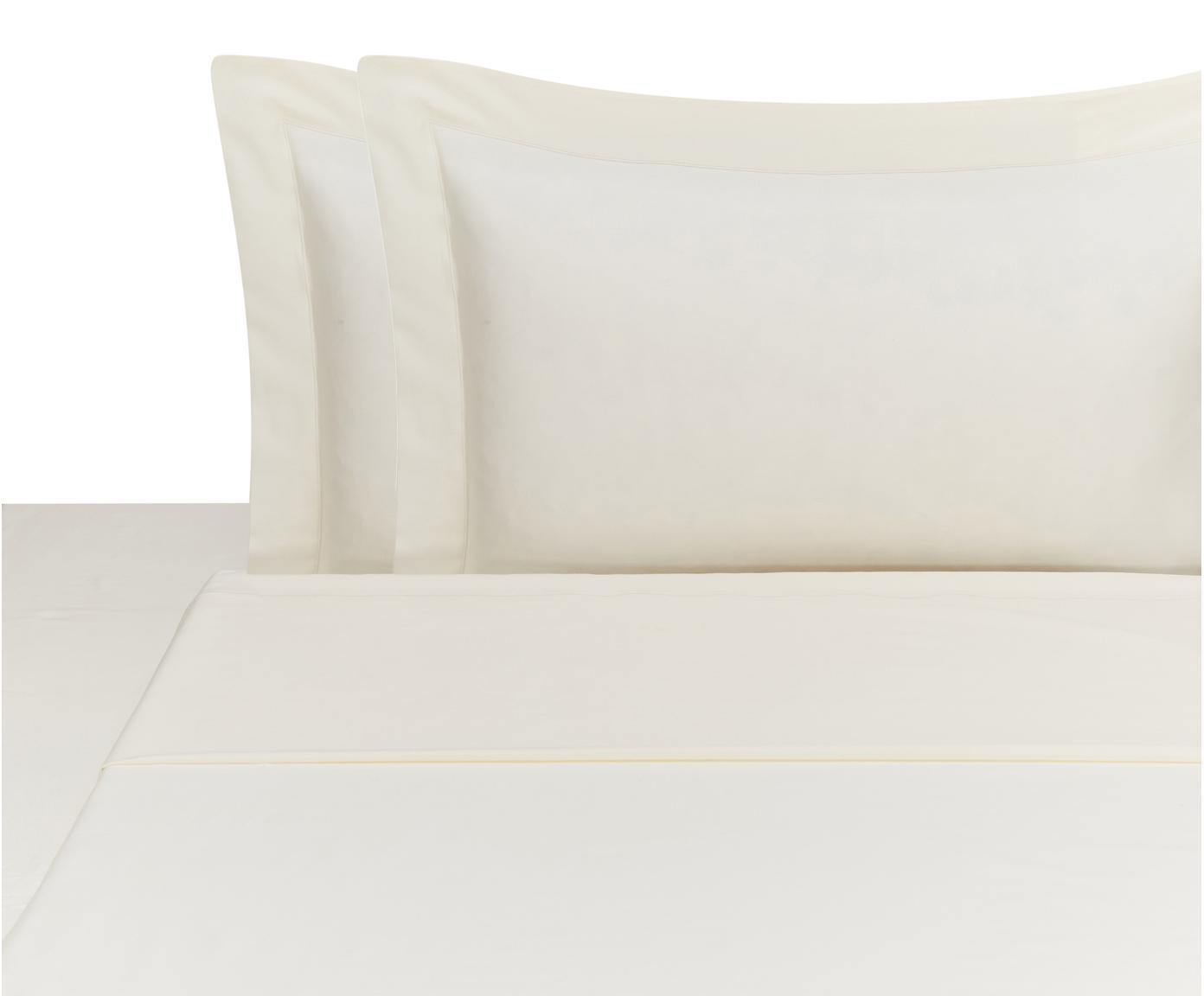 Set lenzuola in raso di cotone Cleo, 4 pz, Beige chiaro, 260 x 295 cm