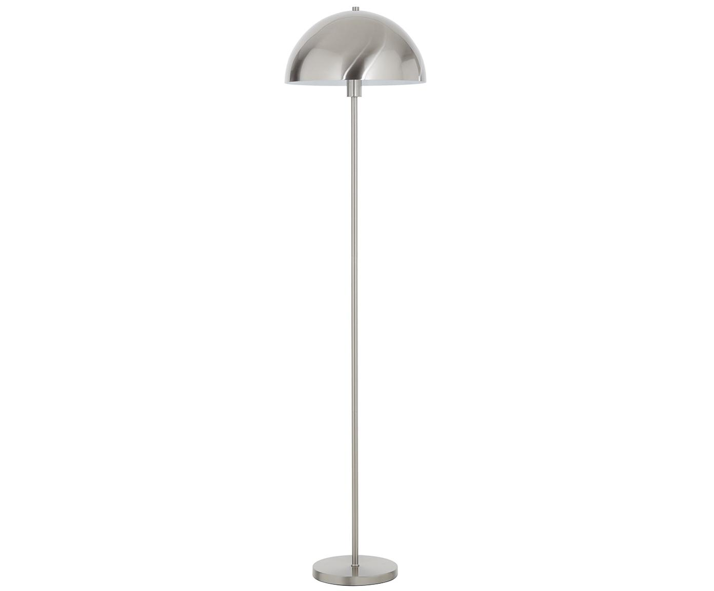 Vloerlamp Matilda, Lampenkap: geborsteld metaal, Lampvoet: geborsteld metaal, Zilverkleurig, Ø 40 x H 164 cm