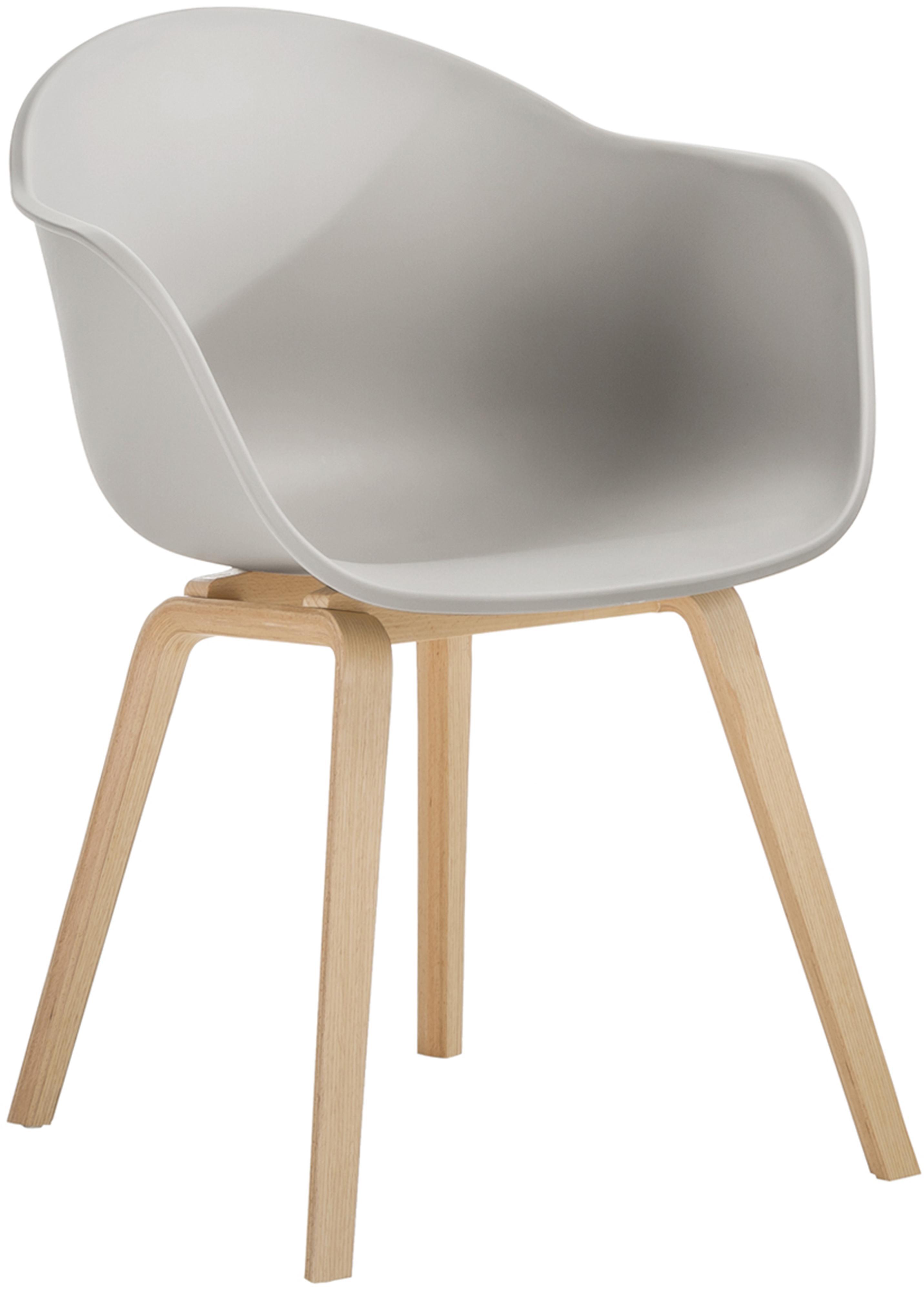 Silla con reposabrazos de plástico Claire, Asiento: plástico, Patas: madera de haya, Plástico beige-gris, An 54 x F 60 cm