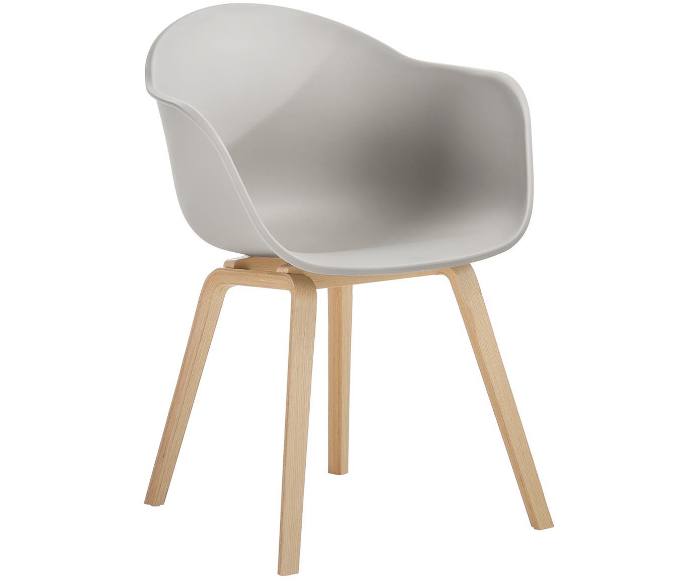 Kunststoff-Armlehnstuhl Claire mit Holzbeinen, Sitzschale: Kunststoff, Beine: Buchenholz, Kunststoff Beigegrau, B 54 x T 60 cm