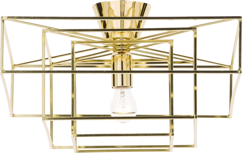 Plafondlamp Cube goudkleurig, Gelakt messing, Goudkleurig, 46 x 27 cm