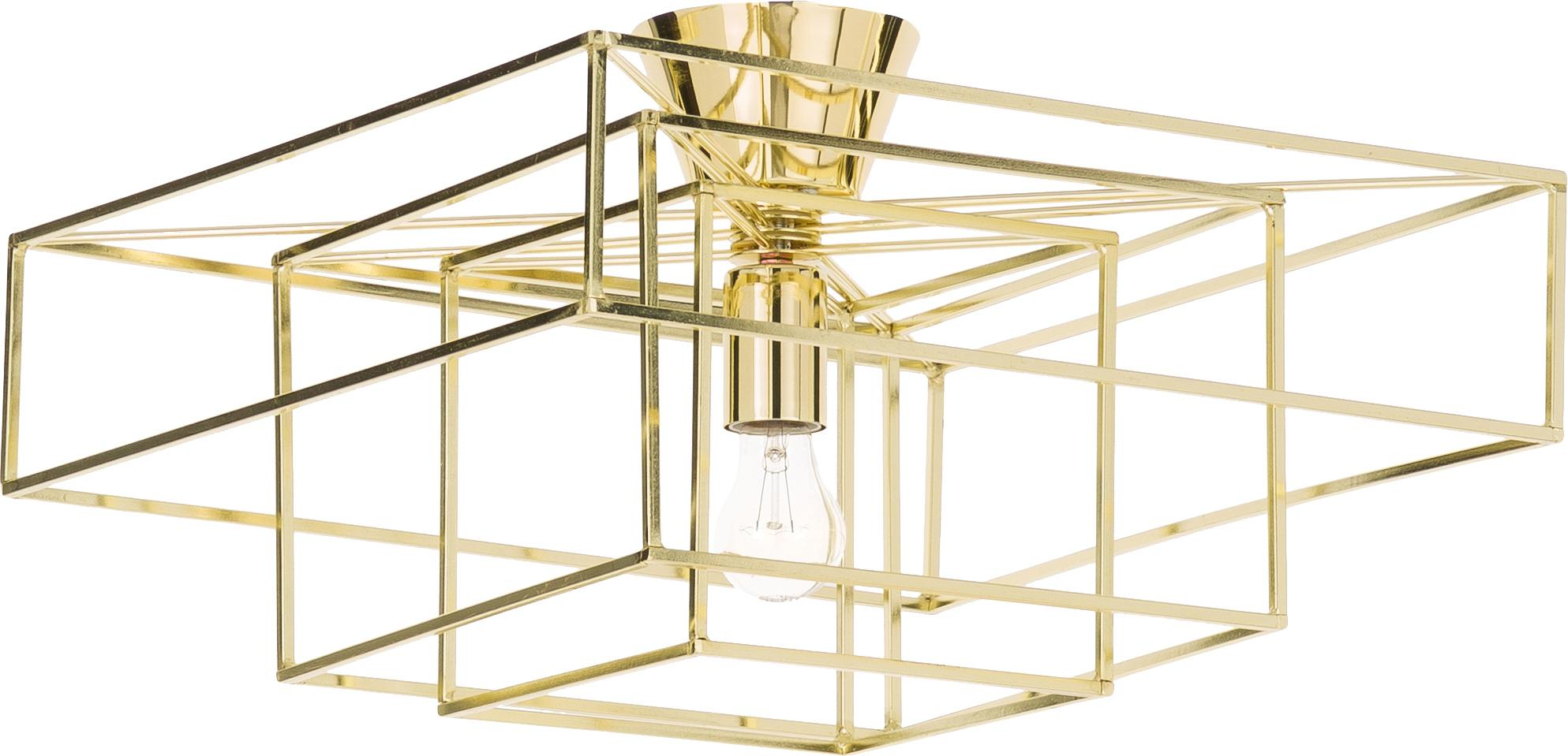 Deckenleuchte Cube in Gold, Messing, lackiert, Goldfarben, 46 x 27 cm
