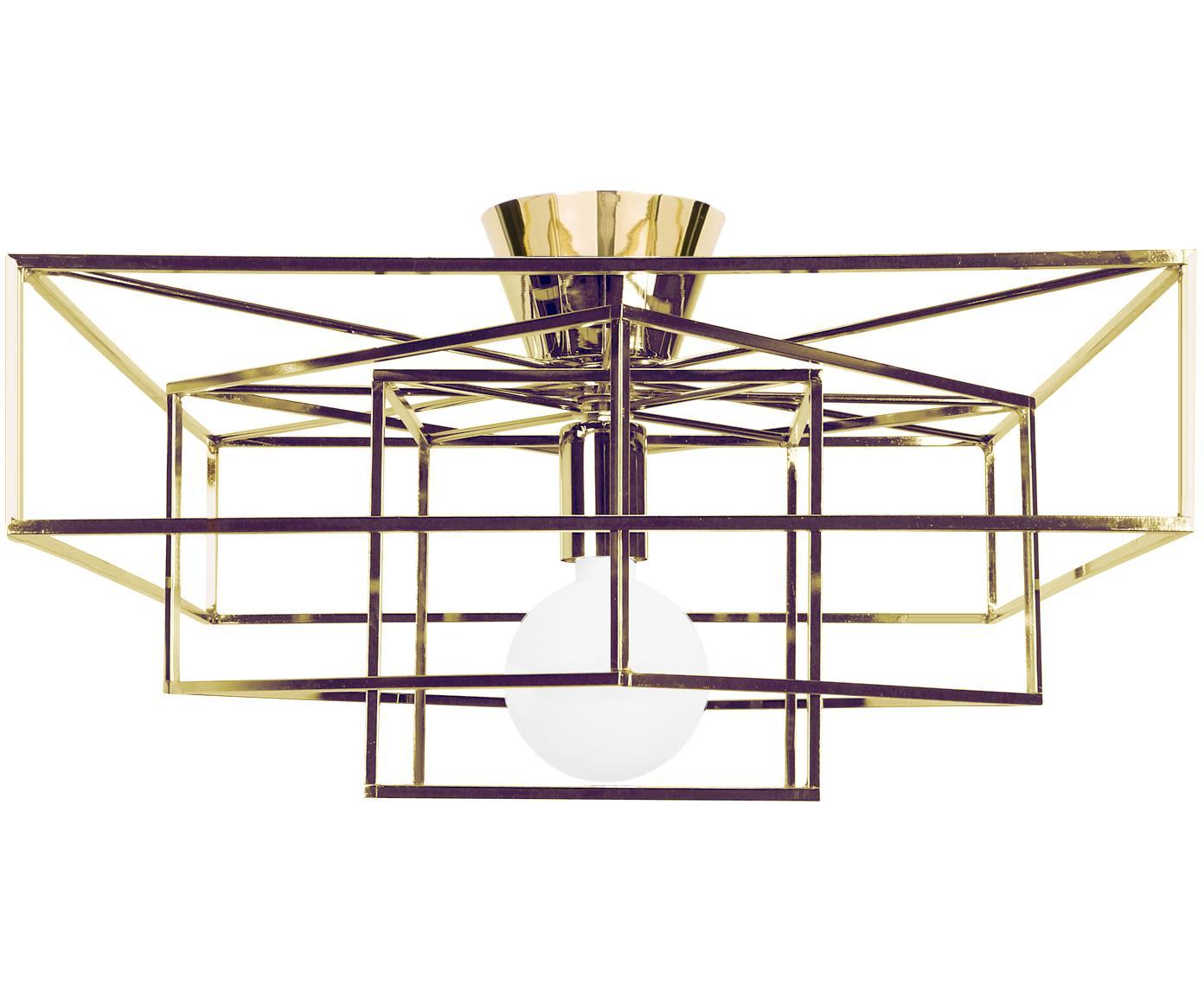 Plafoniera in oro Cube, Ottone verniciato, Dorato, Lar. 46 x  Alt. 27 cm