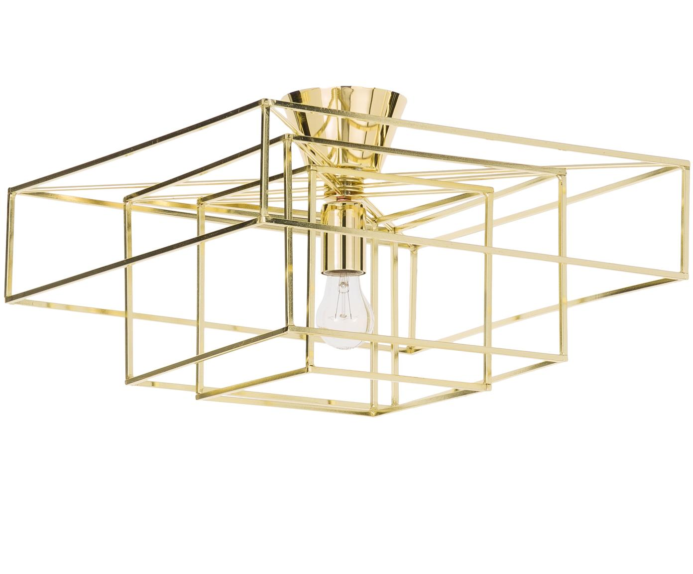 Lampa sufitowa Cube, Mosiądz lakierowany, Odcienie złotego, S 46 x W 27 cm