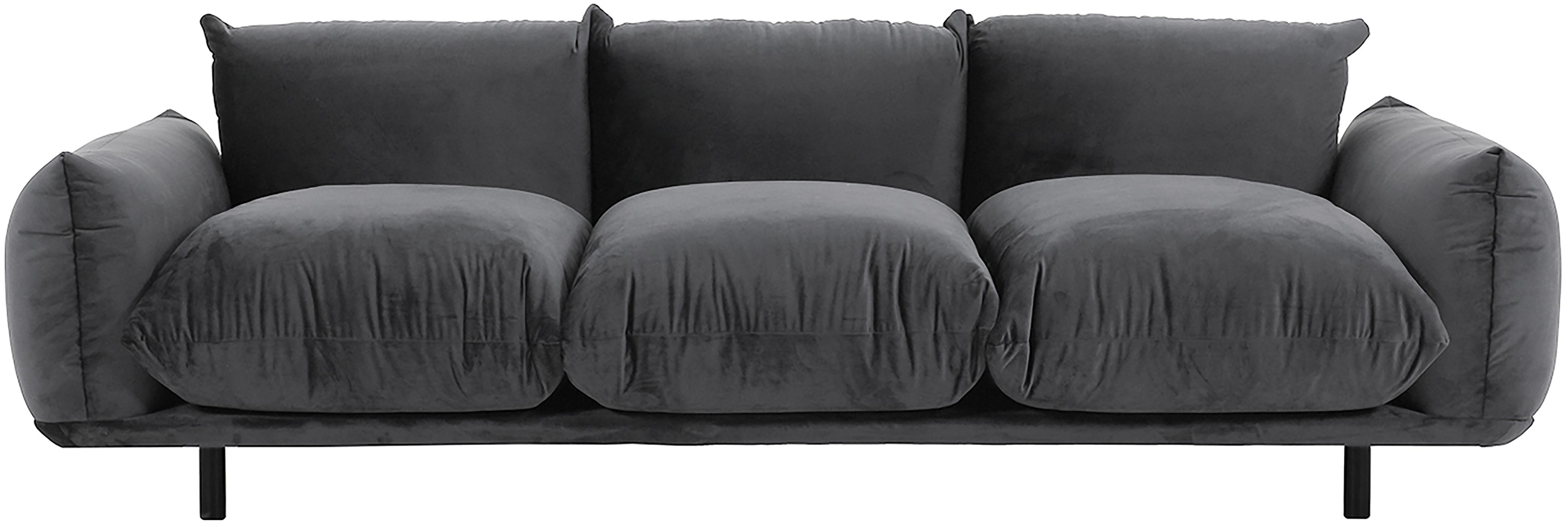 Fluwelen bank Saga (4-zits), Bekleding: 100% polyesterfluweel, Frame: massief berkenhout, Poten: gepoedercoat metaal, Donkergrijs, B 232 x D 103 cm