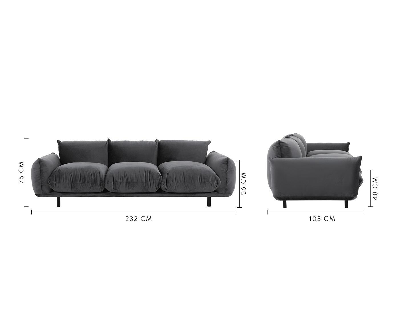 Samt-Sofa Saga (3-Sitzer), Bezug: 100% Polyestersamt 35.000, Gestell: Massives Birkenholz, Füße: Metall, pulverbeschichtet, Samt Dunkelgrau, B 232 x T 103 cm