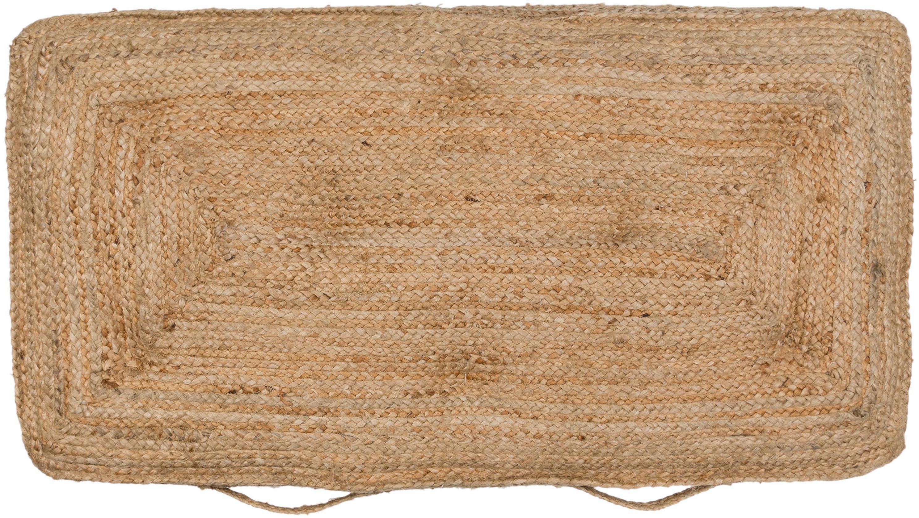 Cojín de suelo grande de yute Ural, Parte superior: yute, Beige, An 60 x L 120 cm