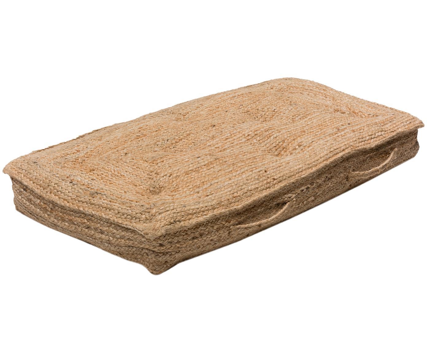 Groot juten vloerkussen Ural, Bovenzijde: jute, Beige, 60 x 120 cm