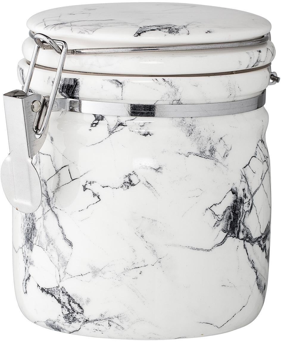Opbergpot White Marble, Houder: porselein, Sluiting: edelstaal, siliconen, Wit, zwart, gemarmerd, Ø 10 x H 12 cm