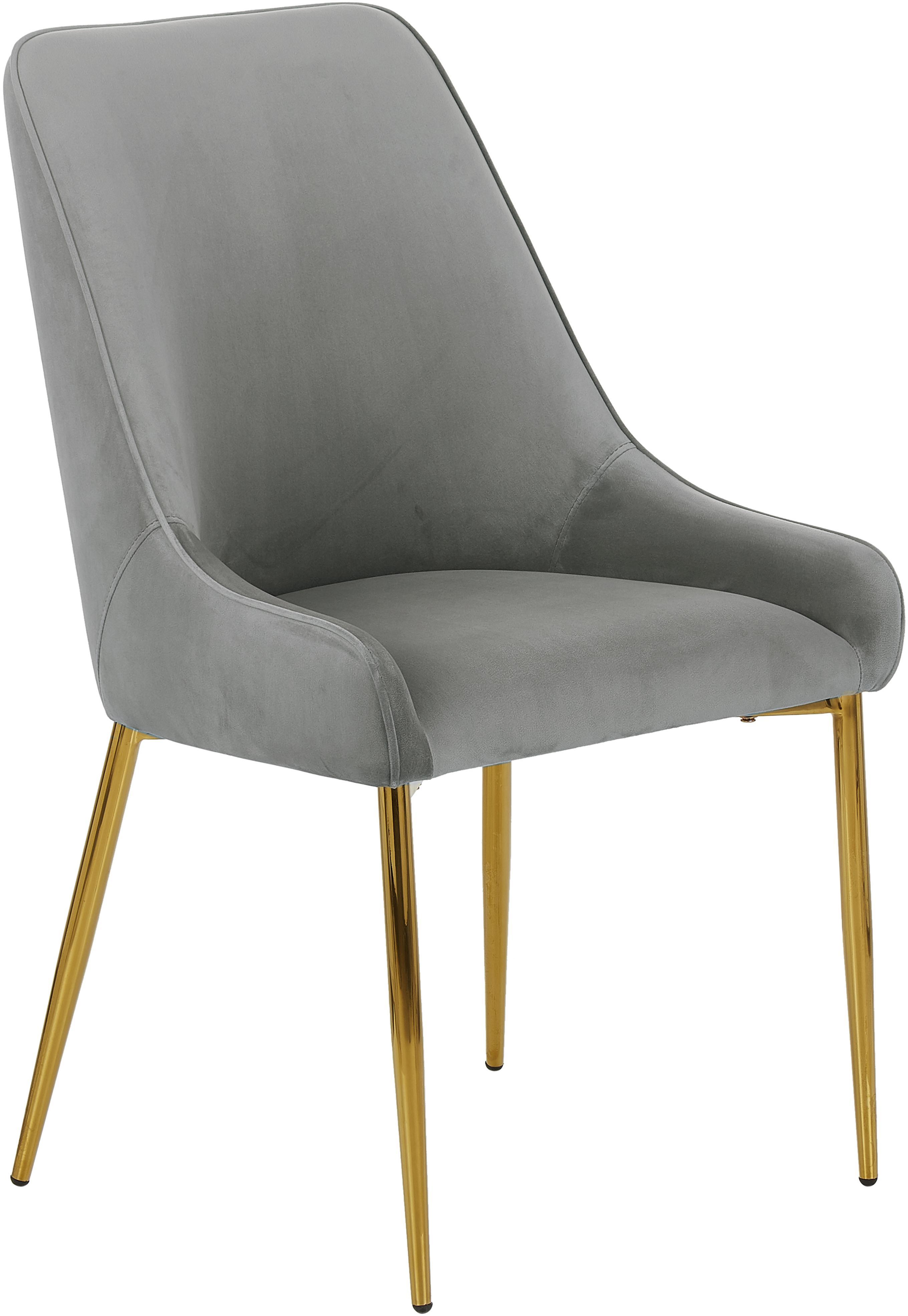Samt-Polsterstuhl Ava mit goldfarbenen Beinen, Bezug: Samt (100% Polyester) Der, Beine: Metall, galvanisiert, Samt Grau, B 53 x T 60 cm