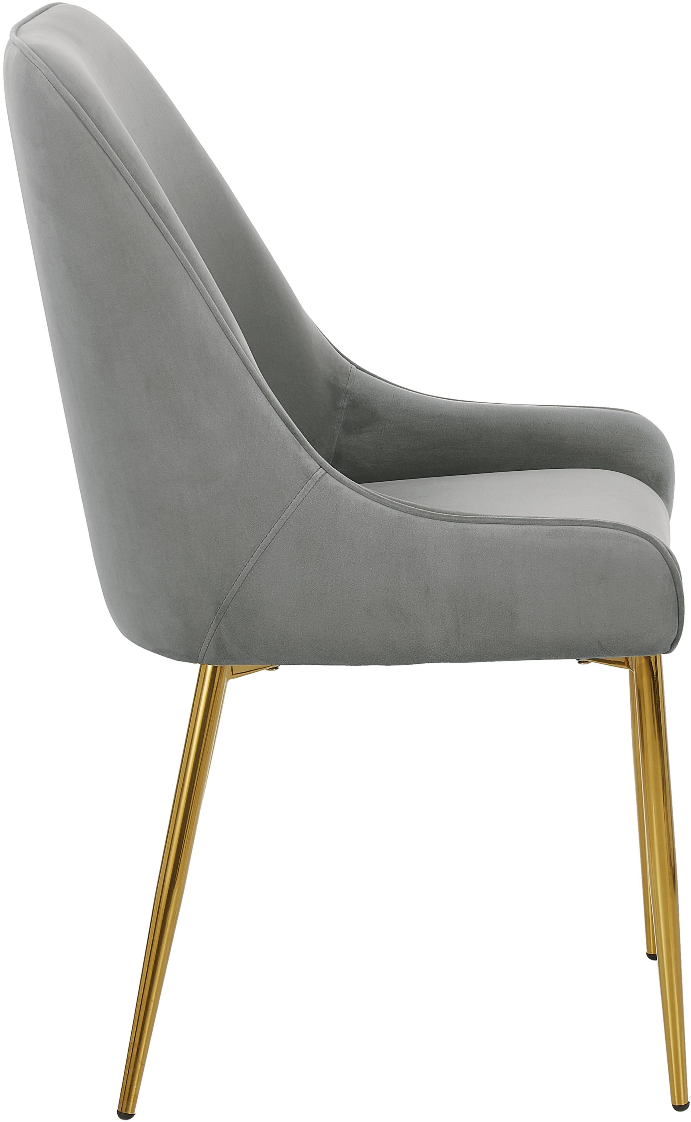 Sedia imbottita in velluto con gambe dorate Ava, Rivestimento: velluto (100% poliestere), Gambe: metallo zincato, Velluto grigio, Larg. 53 x Alt. 60 cm