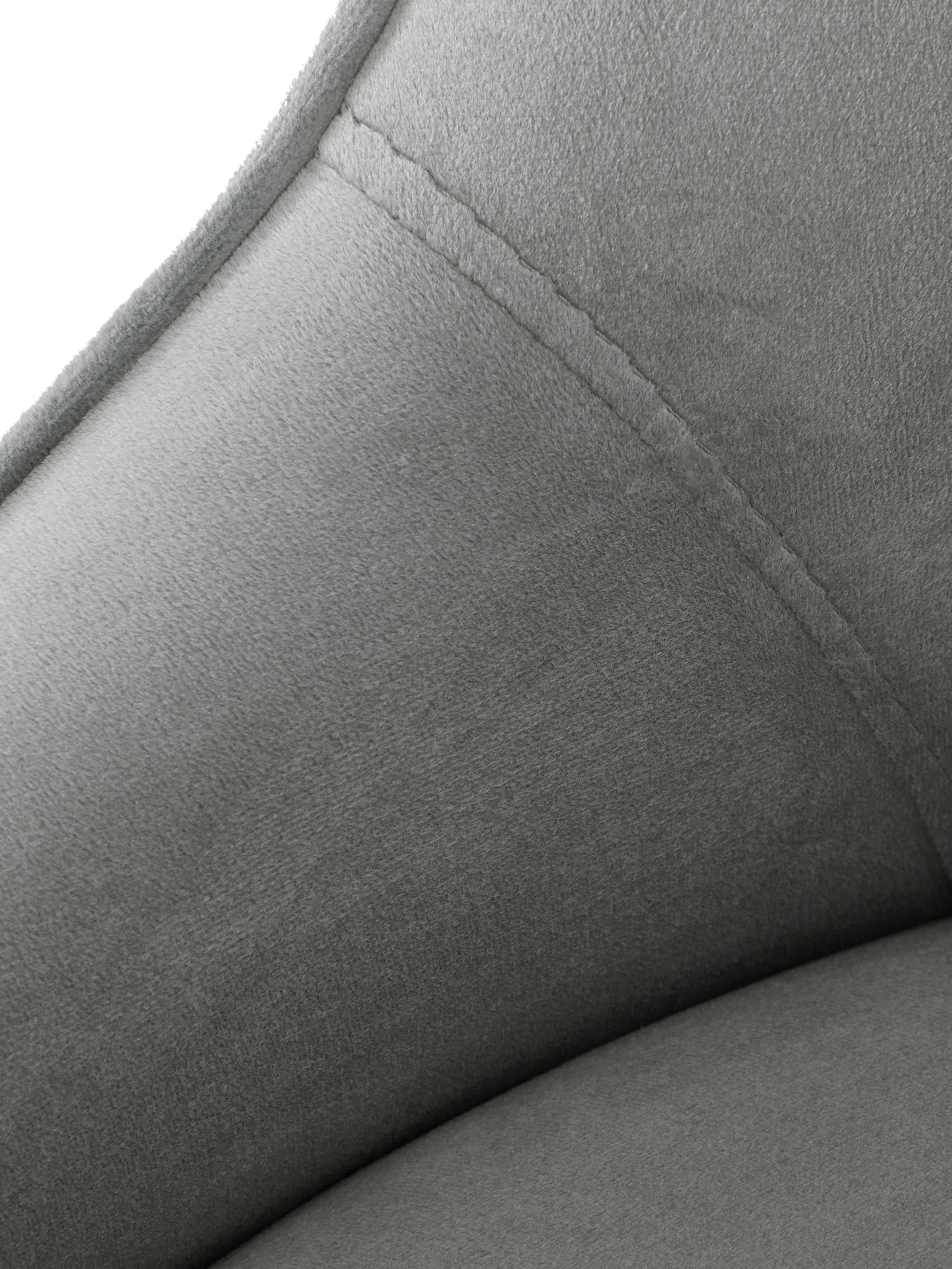 Silla de terciopelo Ava, Tapizado: terciopelo (100%poliéste, Patas: metal galvanizado, Terciopelo gris, An 53 x F 60 cm