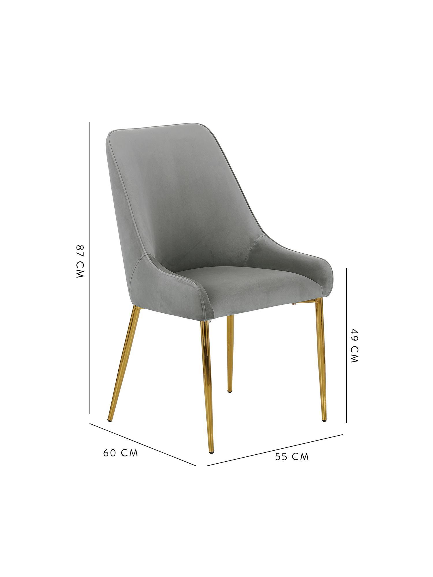 Chaise velours rembourré moderneAva, Velours gris