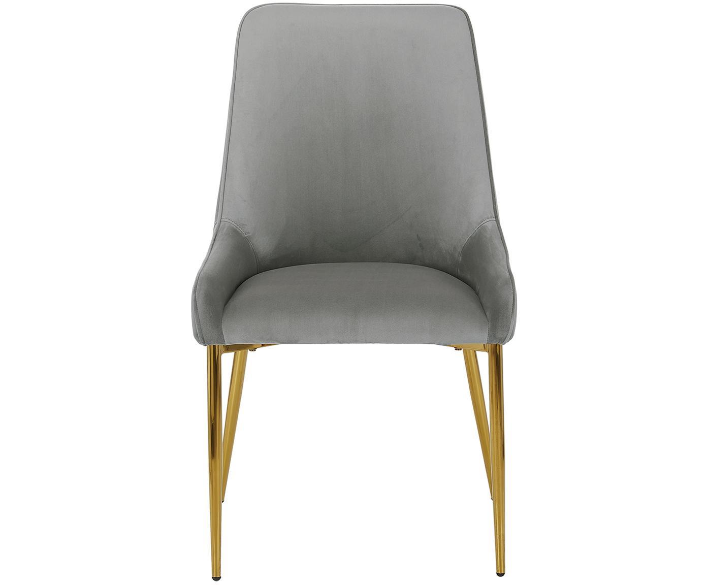 Fluwelen stoel Ava, Bekleding: fluweel (100% polyester), Poten: gegalvaniseerd metaal, Grijs, B 55 x D 60 cm