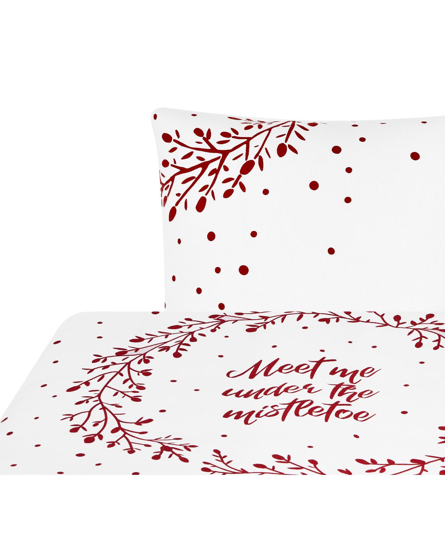 Flanell-Bettwäsche Mistletoe in Weiß/Rot, Webart: Flanell Flanell ist ein s, Weiß, Rot, 155 x 220 cm + 1 Kissen 80 x 80 cm