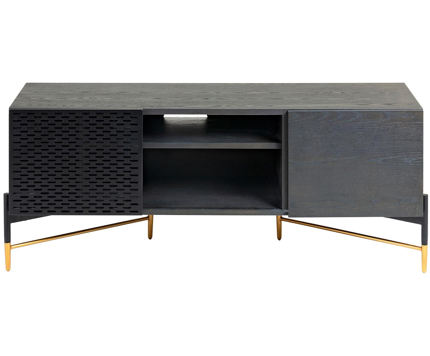 Tv-meubel Milian met schuifdeur, Frame: MDF, gelakt essenhoutfine, Poten: gelakt metaal, Zwart, 141 x 60 cm