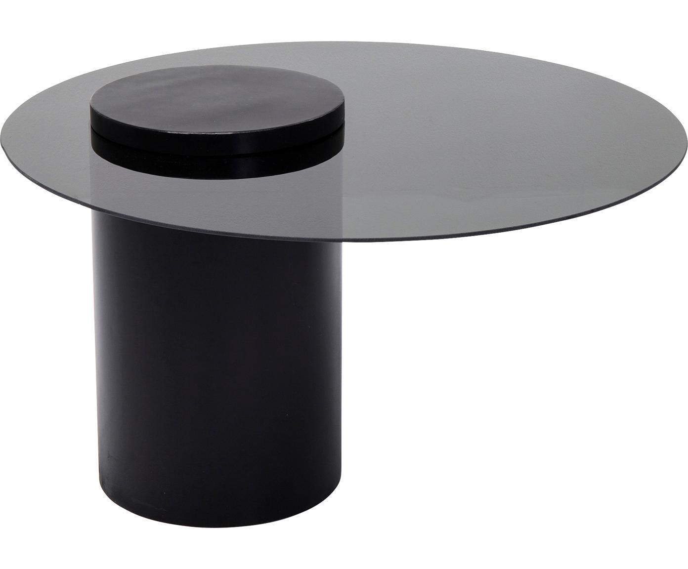 Tavolino da salotto con piano in vetro nero Loft, Piano d'appoggio: vetro temperato (ESG), co, Struttura: metallo, verniciato a pol, Nero, Ø 80 x Alt. 48 cm