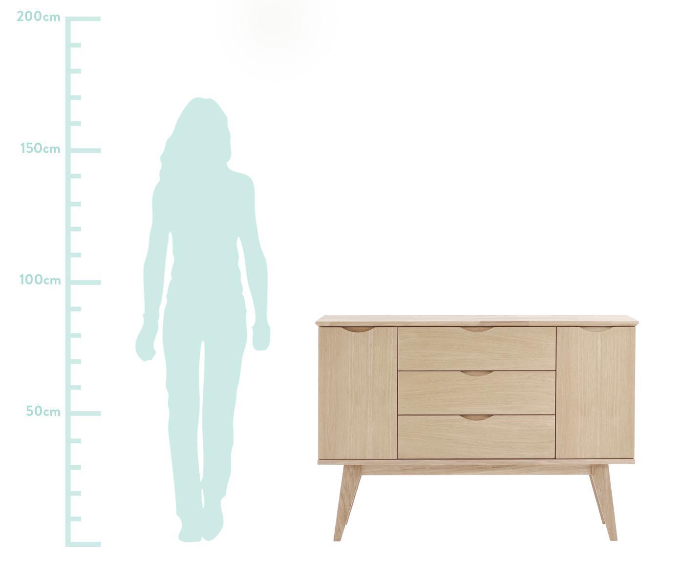 Komoda z drewna dębowego Filippa, Korpus, front i nogi: drewno dębowe, biały rozmyty, S 122 x W 85 cm