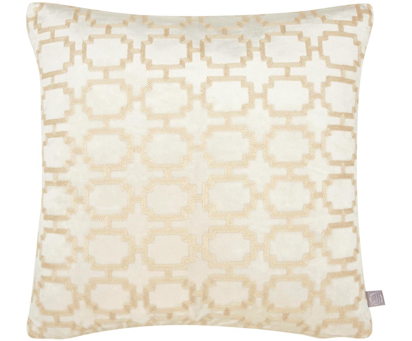 Funda de cojín bordada de terciopelo Simone, 100%terciopelo de poliéster, Blanco, An 43 x L 43 cm