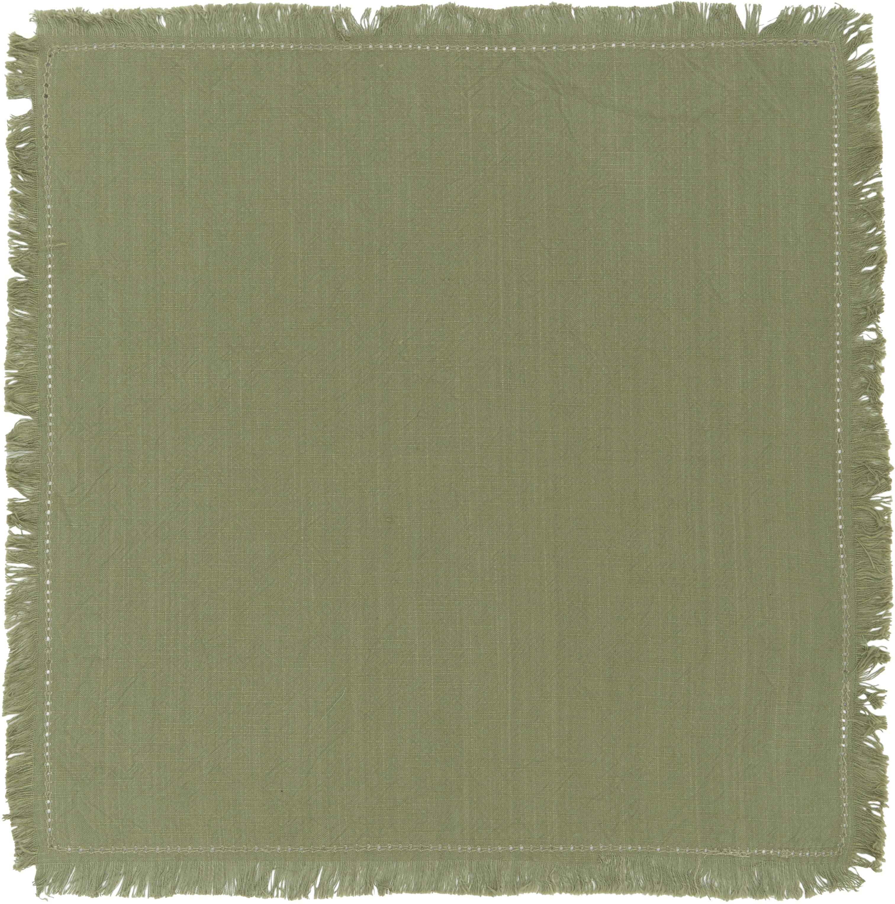 Baumwoll-Servietten Hilma mit Fransen, 2 Stück, Baumwolle, Olivgrün, 45 x 45 cm