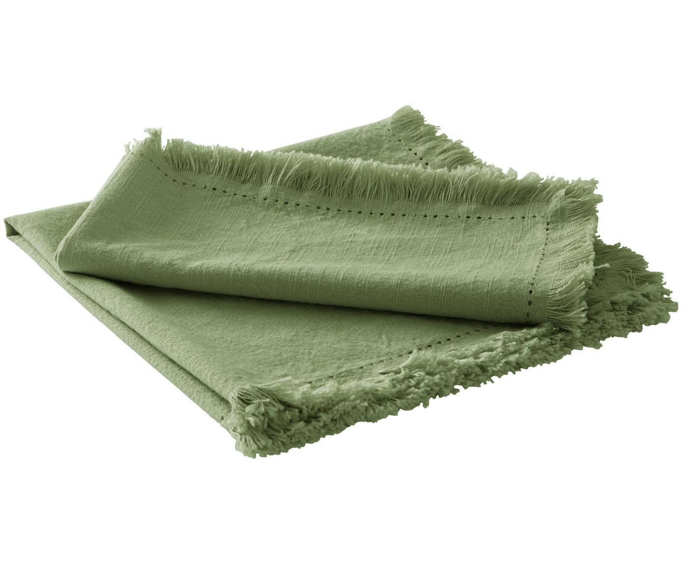 Serwetka z bawełny z frędzlami Hilma, 2 szt., Bawełna, Oliwkowy zielony, S 45 cm x D 45 cm